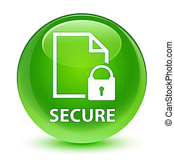 Secure (document page padlock icon) glassy green round button