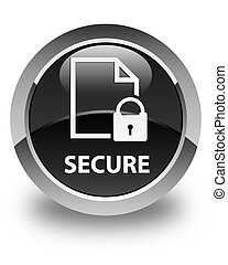 Secure (document page padlock icon) glossy black round button