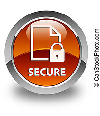 Secure (document page padlock icon) glossy brown round button