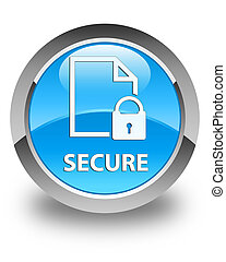 Secure (document page padlock icon) glossy cyan blue round button