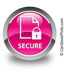 Secure (document page padlock icon) glossy pink round button