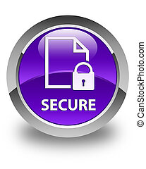 Secure (document page padlock icon) glossy purple round button