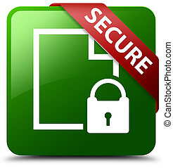 Secure (document page padlock icon) green square button red ribbon in corner
