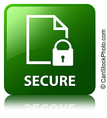 Secure (document page padlock icon) green square button