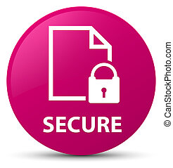 Secure (document page padlock icon) pink round button