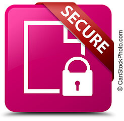 Secure (document page padlock icon) pink square button red ribbon in corner