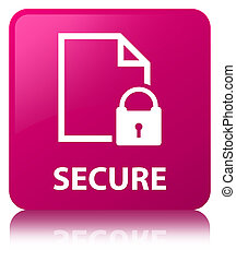 Secure (document page padlock icon) pink square button