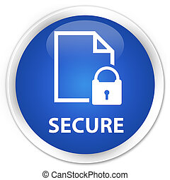 Secure (document page padlock icon) premium blue round button