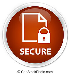 Secure (document page padlock icon) premium brown round button