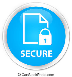 Secure (document page padlock icon) premium cyan blue round button
