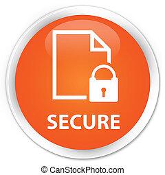 Secure (document page padlock icon) premium orange round button