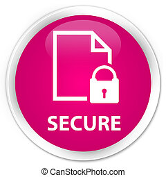 Secure (document page padlock icon) premium pink round button