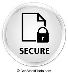 Secure (document page padlock icon) premium white round button
