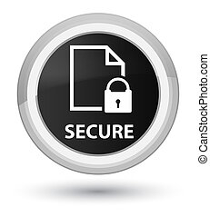 Secure (document page padlock icon) prime black round button
