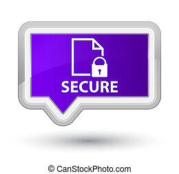 Secure (document page padlock icon) prime purple banner button