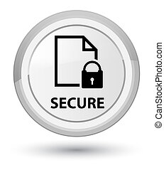 Secure (document page padlock icon) prime white round button