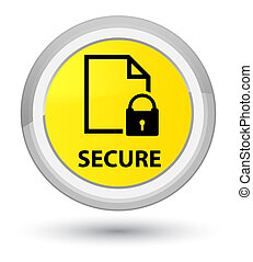 Secure (document page padlock icon) prime yellow round button