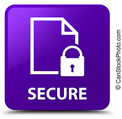 Secure (document page padlock icon) purple square button