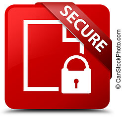 Secure (document page padlock icon) red square button red ribbon in corner