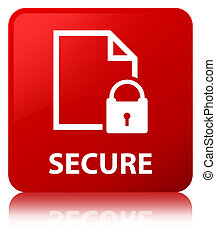 Secure (document page padlock icon) red square button