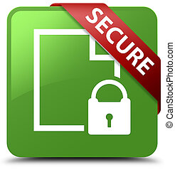Secure (document page padlock icon) soft green square button red ribbon in corner