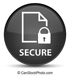 Secure (document page padlock icon) special black round button