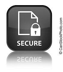 Secure (document page padlock icon) special black square button