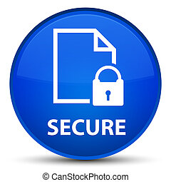 Secure (document page padlock icon) special blue round button
