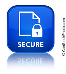 Secure (document page padlock icon) special blue square button