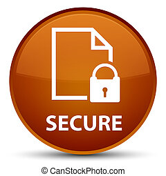 Secure (document page padlock icon) special brown round button