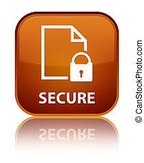 Secure (document page padlock icon) special brown square button