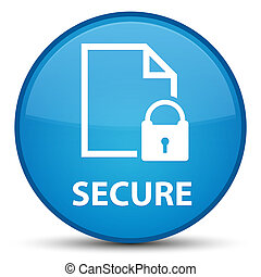 Secure (document page padlock icon) special cyan blue round button