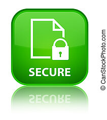 Secure (document page padlock icon) special green square button