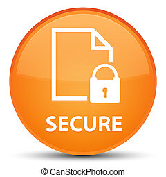 Secure (document page padlock icon) special orange round button