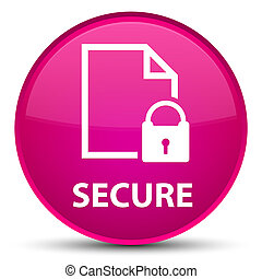 Secure (document page padlock icon) special pink round button