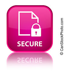 Secure (document page padlock icon) special pink square button