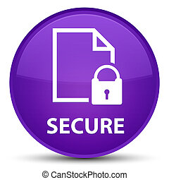 Secure (document page padlock icon) special purple round button