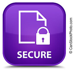 Secure (document page padlock icon) special purple square button
