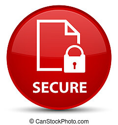 Secure (document page padlock icon) special red round button