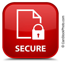 Secure (document page padlock icon) special red square button