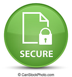 Secure (document page padlock icon) special soft green round button