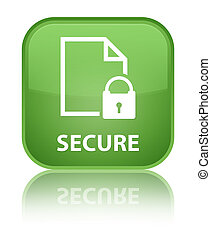 Secure (document page padlock icon) special soft green square button