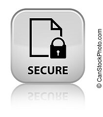 Secure (document page padlock icon) special white square button