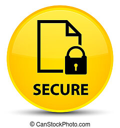 Secure (document page padlock icon) special yellow round button