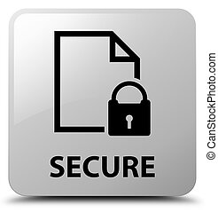 Secure (document page padlock icon) white square button