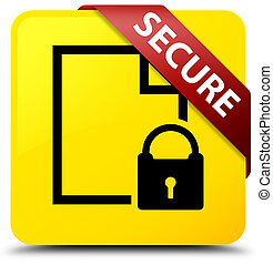 Secure (document page padlock icon) yellow square button red ribbon in corner