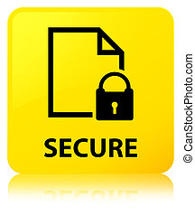 Secure (document page padlock icon) yellow square button