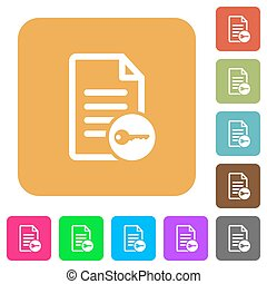 Secure document rounded square flat icons
