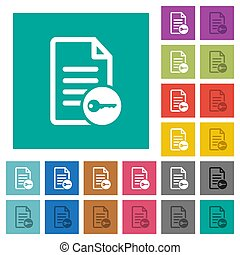 Secure document square flat multi colored icons