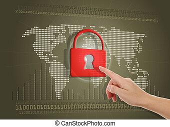 secure, eller, blokkeret, intert adgang, begreb